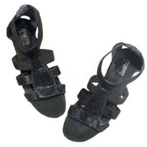 MUNRO Zena snake print suede sandals 8